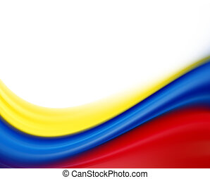 Colors waves - Yellow, blue and red flag on white background