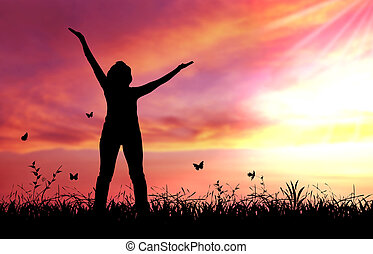 Praise the lord - High resolution graphic of woman praising...