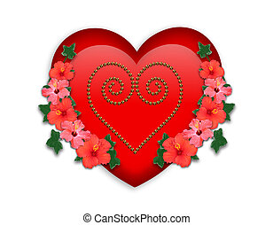 Valentine red heart and flowers