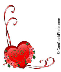 Valentine red heart and ribbons