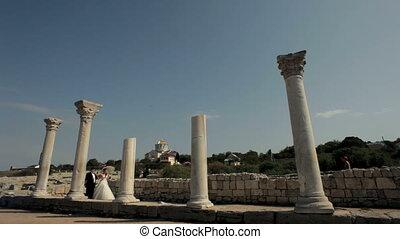 Walking through the ruins - Newlyweds walk around the ruins...