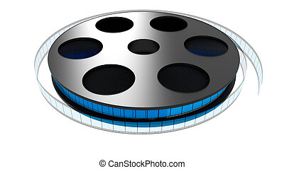 3D Film roll - 3D color film rolled on a white background