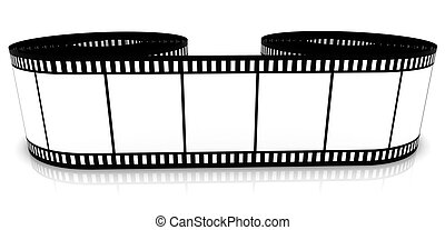 Film strip - Segment color film rolled up on a white...