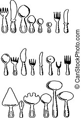 silhouettes of kitchen accessories