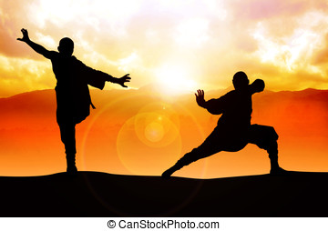 Duel - Silhouette illustration of two figures doing martial...