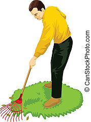 Gardening Activity - Stock vector of a man gardening