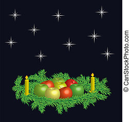 Christmas wreaths - vector - Christmas wreaths with fresh...