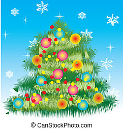 New Year's card with a fur-tree - vector