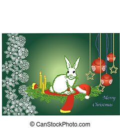 The white hare with a contour fur-tree needles congratulates...