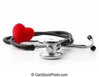 Stethoscope with heart on white - Stethoscope with heart on...