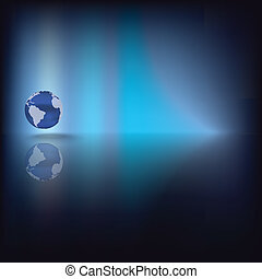 Abstract background with globe on blue