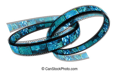 Two 3d filled films ring - Two 3d films rings over white...