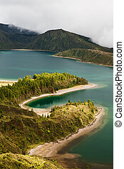 Caldera - lakes on the san Miguel Island , Azores, Portugal