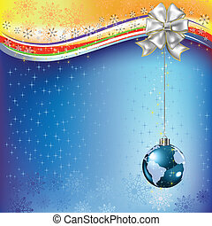 christmas greeting planet earth with white bow
