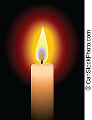 Candle - Stock vector of a candle on black background