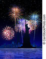 New York_Fire Works - Stock image of New York City with...