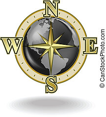 Golden compass with globe on a white