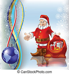 christmas greeting Santa Claus with gifts