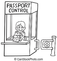 Passport Control - Black and White Cartoon illustration,...