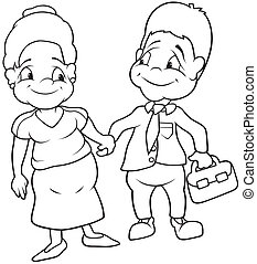Aunt and Uncle - Black and White Cartoon illustration,...