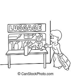 Left luggage office - Black and White Cartoon illustration,...