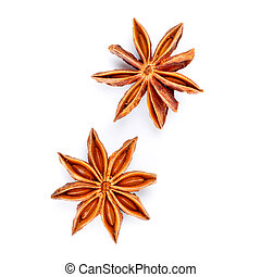 star anise - two star anise isolated on white background