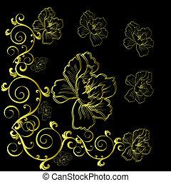 fantasía, mano, dibujado, flores