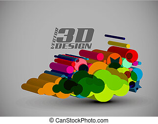 3d Multi-colour element in style design, vector...
