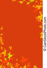 fall of the colorful leaves in red background