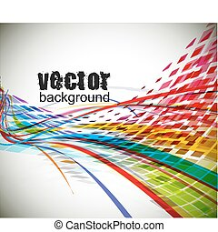 abstract rainbow wave line with sample text background