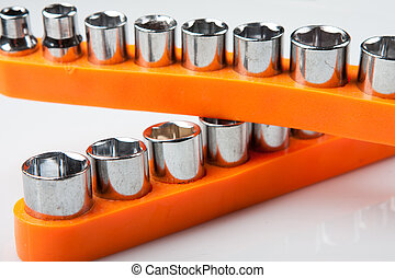 torx socket set - metal torx socket set on light background