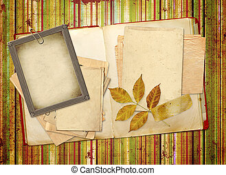 Memories - Frame with old paper and photos. Objects over...