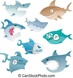 angry sharks - Collection of cartoon colored crazy angry...