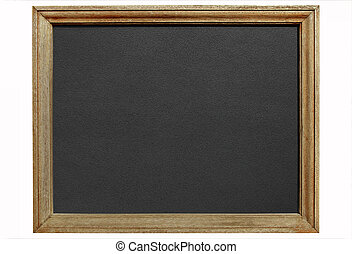 Old blackboard with wooden frame isolated white background.