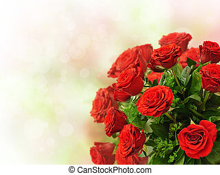 roses - red roses bouquet over the colorful bokeh background