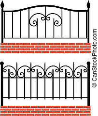 Various wrought-iron fence