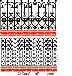 Various wrought iron fence