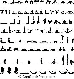 Various yoga postures silhouettes v