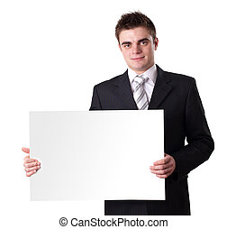 man Holding Blank Sign - Businessman Holding Blank Sign