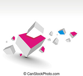 3d cubes - 3d composition of cubes, eps10 vector...