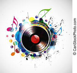 vinyl record on colorful background, vector illustration.