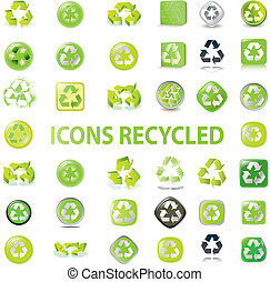 various recycle icons - 38 set recycle icons vector