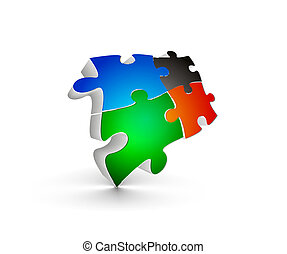 puzzle pieces - abstract vector illustration of 3d puzzle...