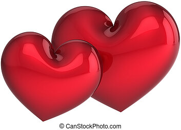 Two hearts love. Romantic valentine - Two heart shapes. I...