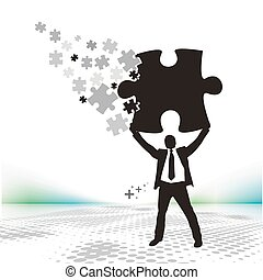 puzzle pieces - abstract vector illustration of business man...