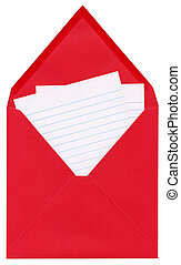 Red letter - Closeup of a letter - open red square envelope...