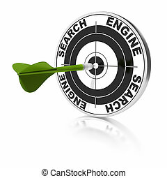 search engine target and green dart over a white background