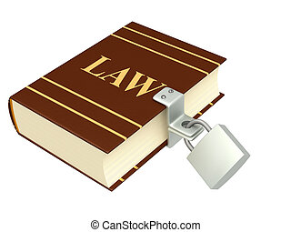 Code of laws, closed on the lock Object isolated over white