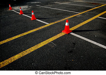 Traffic Cones on Asphalt