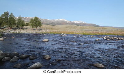 Rapid mountain river in Mongolian Altai ( Dayan )